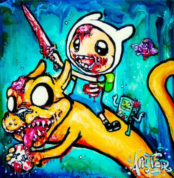alister dippner zombie child monster cat illustration painting cute horror cartoon