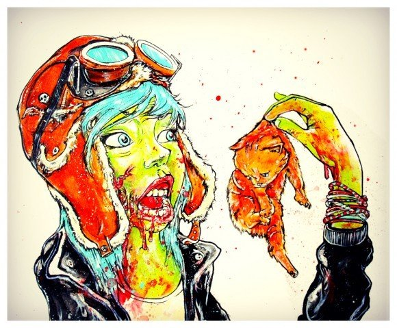 alister dippner zombie girl eating kittens cat cartoon horror painting gore illustration