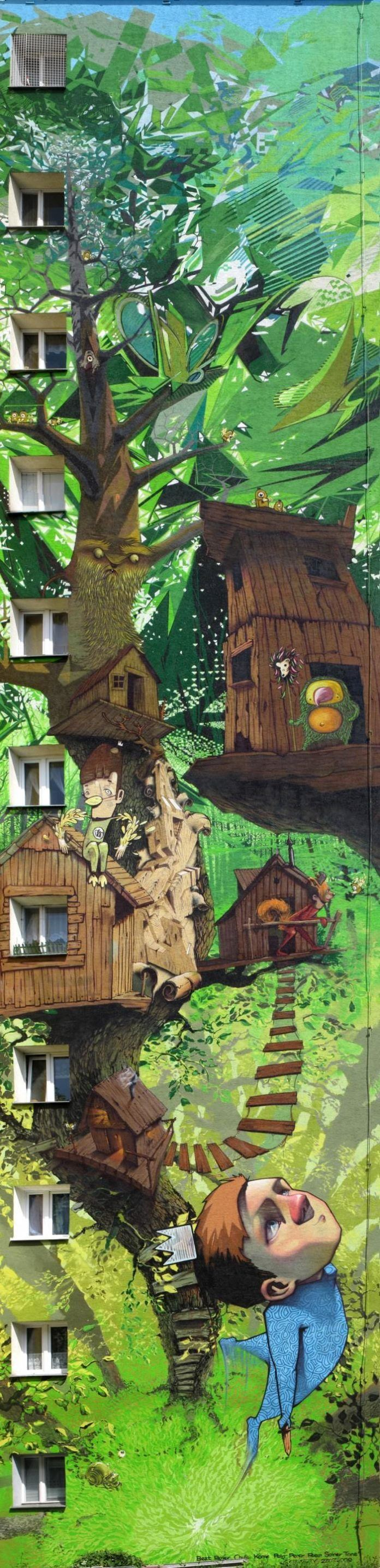 awesome graffiti cool street art fantasy tree house imagination garden dream boy clever