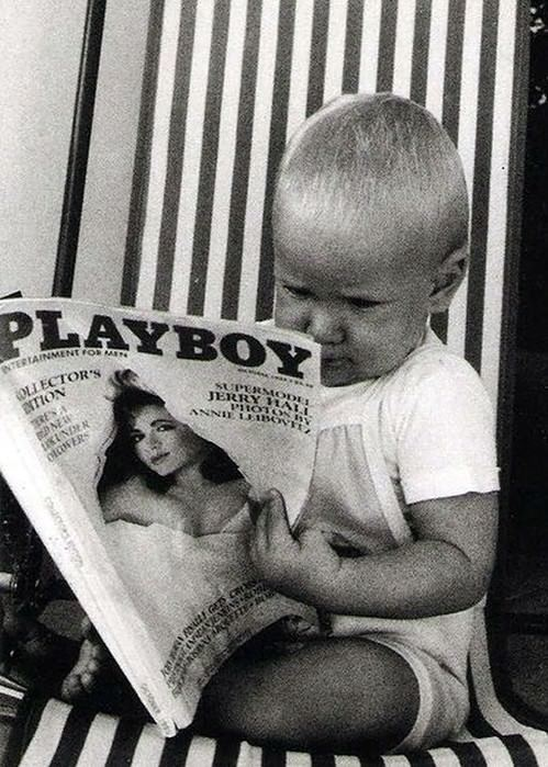 baby boy looking at playboy starting young when I grow up inspirational humor funny picture