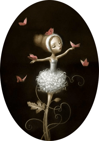 ballerina butterfly beautiful girl surrealist art illustration painting fantasy