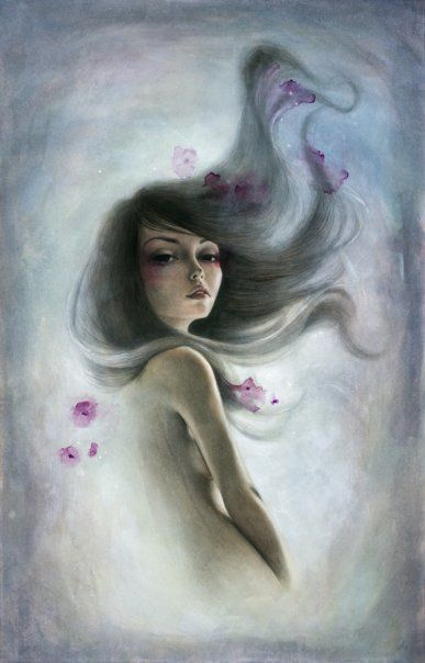 A beautiful gothic fairy figure poses in this Mandy Tsung painting