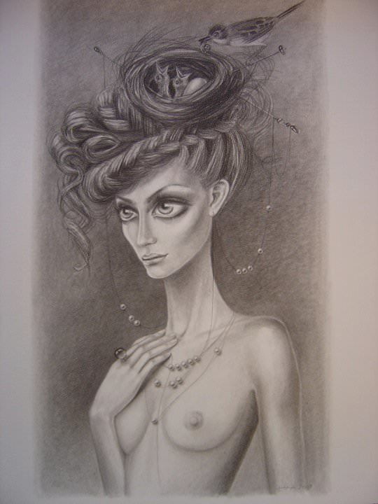 beautiful anorexic girl birds nest hairstyle sketch drawing leila ataya