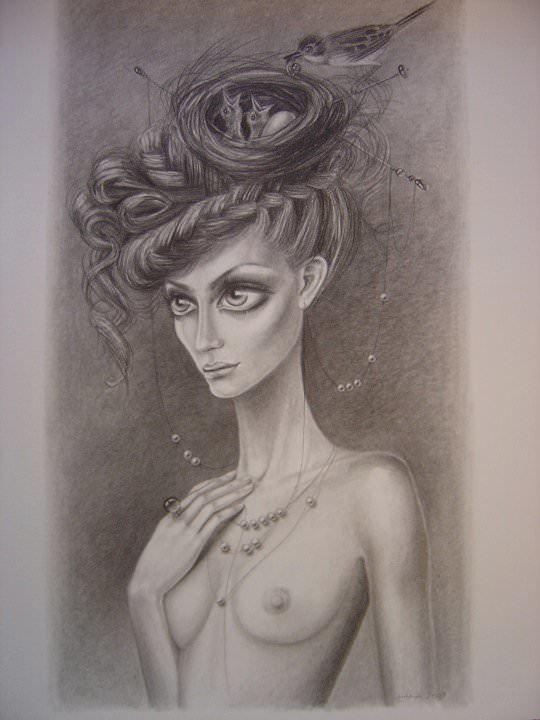beautiful anorexic girl birds nest hairstyle sketch drawing leila ataya