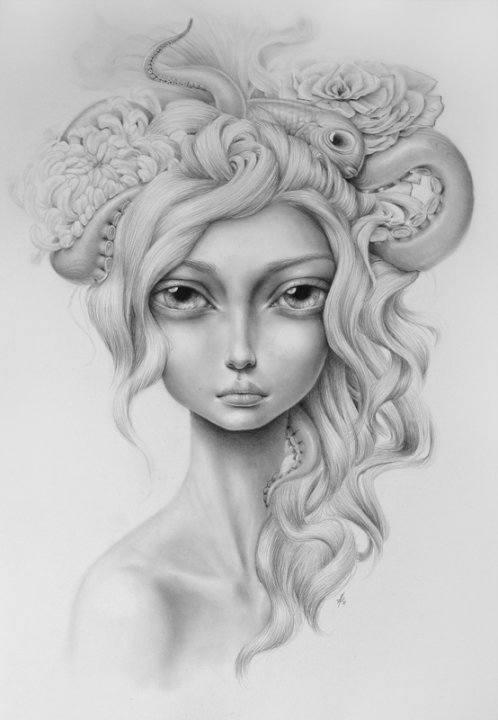 A pop surrealist beauty poses with an octopus in this art work by Mandy Tsung