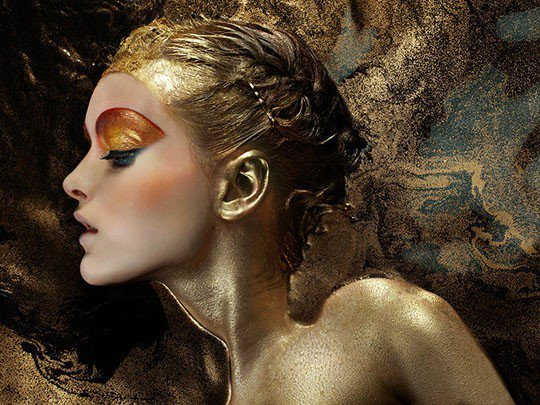 beautiful girl bath of gold paint iain crwaford photography model woman luxury