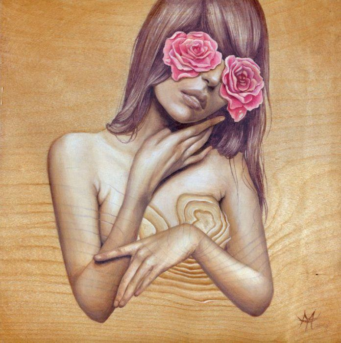 A soft and sensual Mandy Tsung wood painting in which a girl has flowers in her eyes