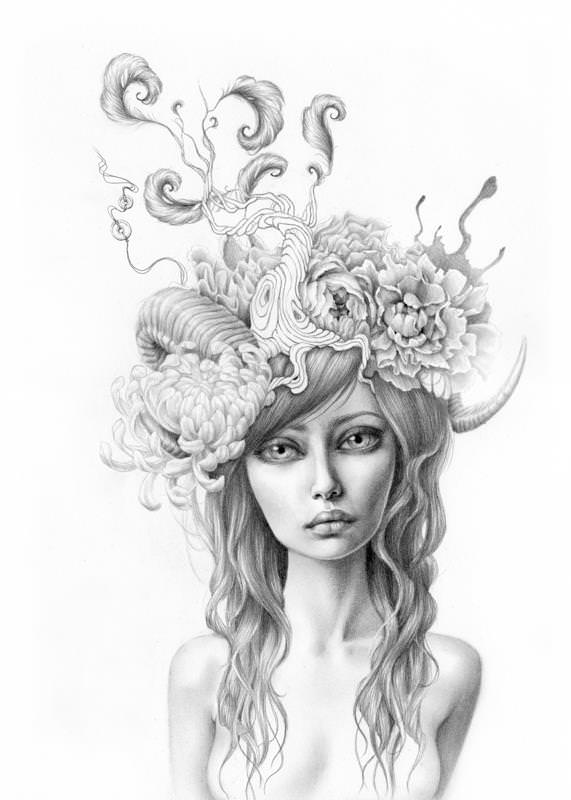 A beautiful girl with flowers and trees in her hair is the subject of this art work by Mandy Tsung