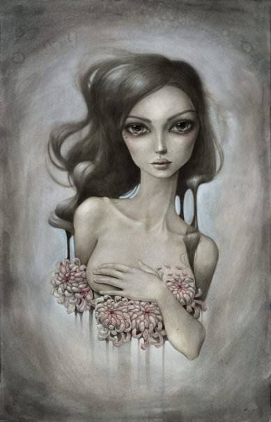 A gothic girl poses with a lotus in this pale painting by Mandy Tsung