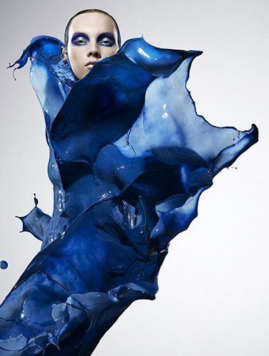 beautiful girl model blue paint splash clothing fashion art design photography iain crawford