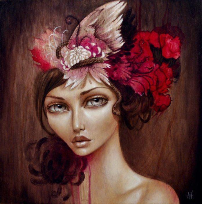 A beautiful pop surrealist portrait of a woman with red flowers in her hair painted by Mandy Tsung