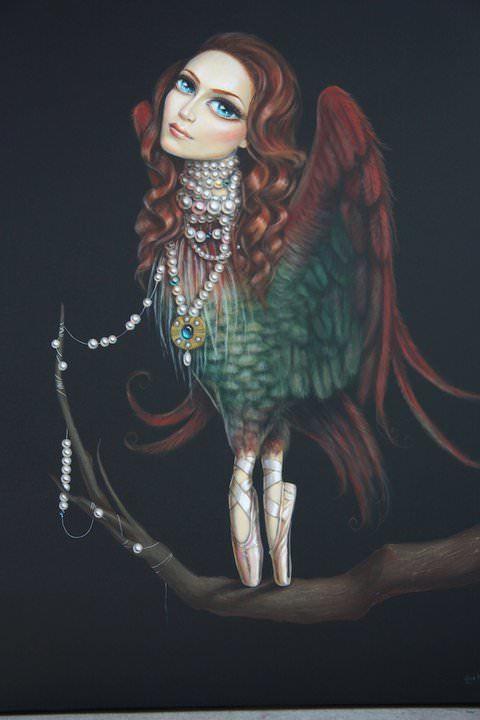 bird woman ballerina surrealist fine art painting by leile ataya feminine girl with pearl necklace