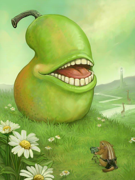 biting pear grinning fruit laughing vegetable smile teeth human art illustration humore funny
