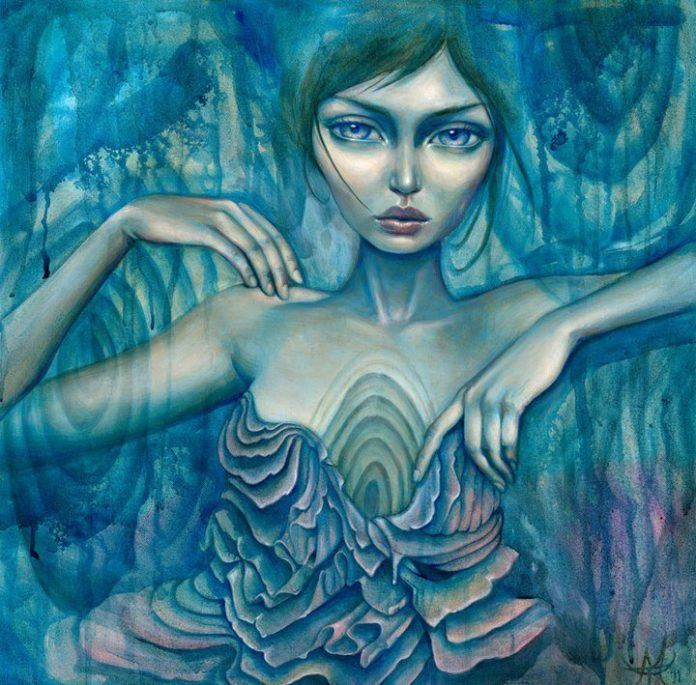 A water nymph emerges from wood grain in this blue painting by Mandy Tsung