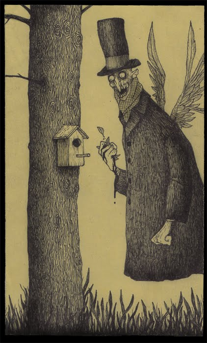 boogie man john kenn illustration drawing on pot-it note evil monster angel of death