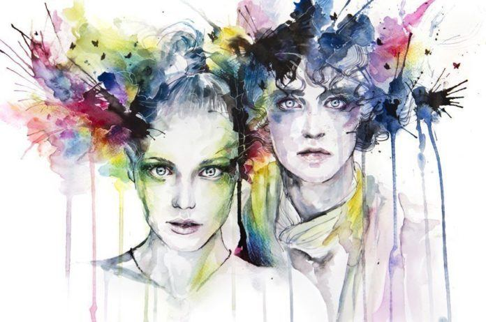 boy girl children art portrait painting head exploding color splash splatter watercolor ink spill drip run