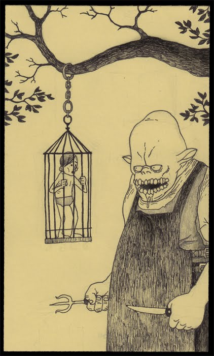 cannibal monster man in a cage beast creature horror illustration
