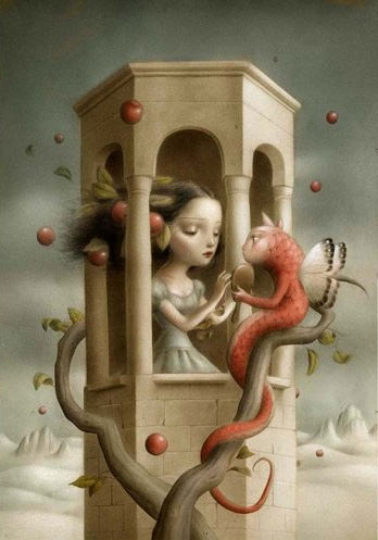 cat serpent eve apple temptation girl in tower damsel in distress children book illustration art