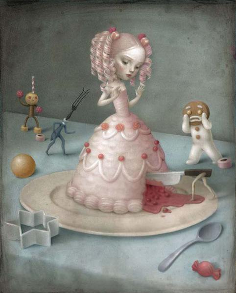 ceccoli art painting illustration surrealist party girl dress cake doll children fairy tale gingerbread man