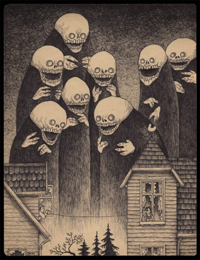 choir of demons scary monster boogie man children post it note art john don kenn illustration drawing