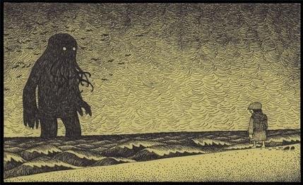 cthulu sea monster beach girl post-it note art drawing illustration design