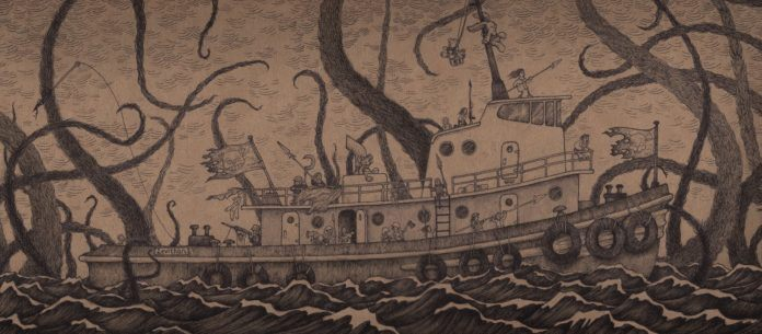 don kenn post-it monsters boat sea creature tentacles giant octopus illustration