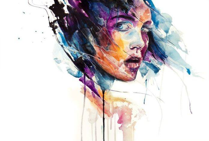 don't look back over shoulder portrait girl watercolor painting drama fear art painting drip splash dribble