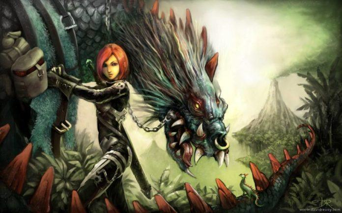 dragon beast rider warrior woman girl sexy art fantasy illustration painting