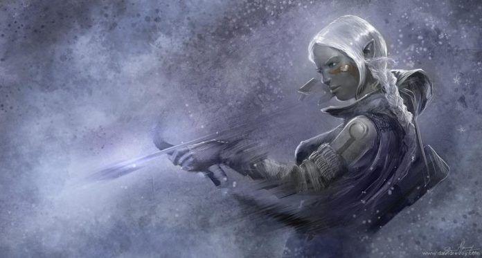 elf girl shooting arrow white hair fantasy character art fairy tale illustration elven