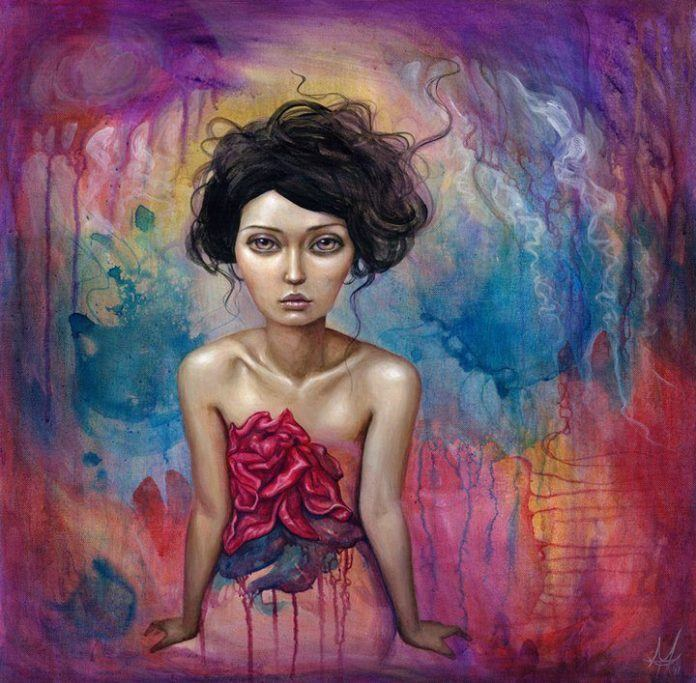 An emotive painting by Mandy Tsung of a moody young woman