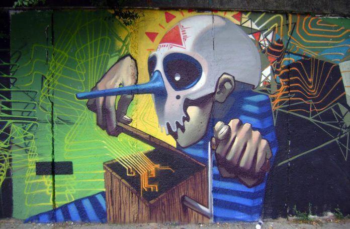 etam cru music box graffiti street art horror skull mask wall painting