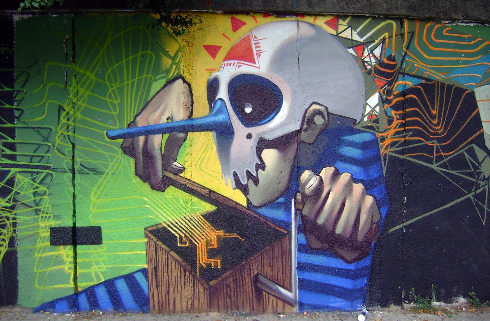 etam cru music box graffiti street art horror skull mask wall painting & etam cru music box graffiti street art horror skull mask wall ...