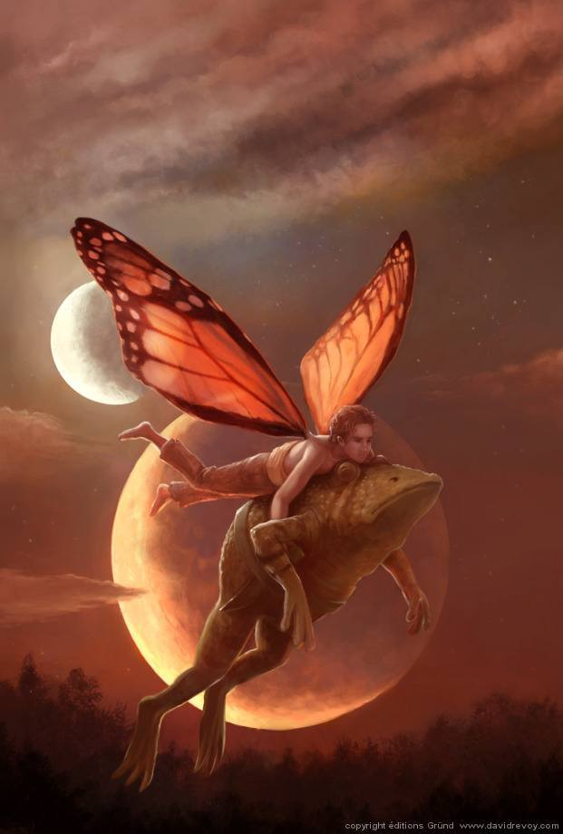 fairy guy carrying toad full moon magic fantasy illustration art painting