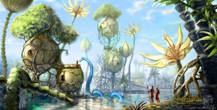 fantasy city alien world alternative reality parallel universe planet surreal illustration art painting