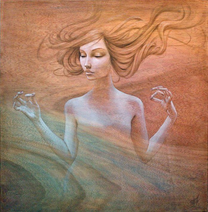 A sensual and spiritual painting of a girl floating painted by Mandy Tsung on wood