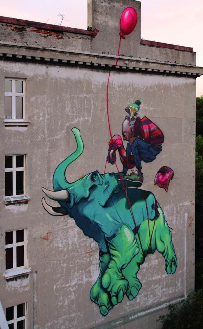 flying elephant balloon street art graffiti wall painting poland polish etam cru bezt sainer