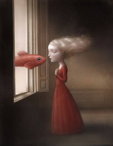 flying fish giving girl a kiss medieval fantasy childrens book illustration art design