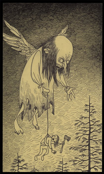 flying ghost carrying person axe john don kenn post-it note art monster boogie man illustration