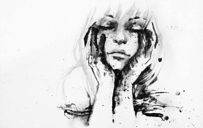 freckle girl covered in paint portrait watercolor painting art ink spill splash spatter dribble