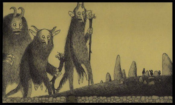 giant monsters boogie men scary illustration drawing john kenn don post-it note art