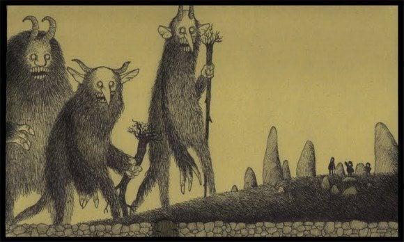 giant monsters boogie men scary illustration drawing john kenn don post-it note art