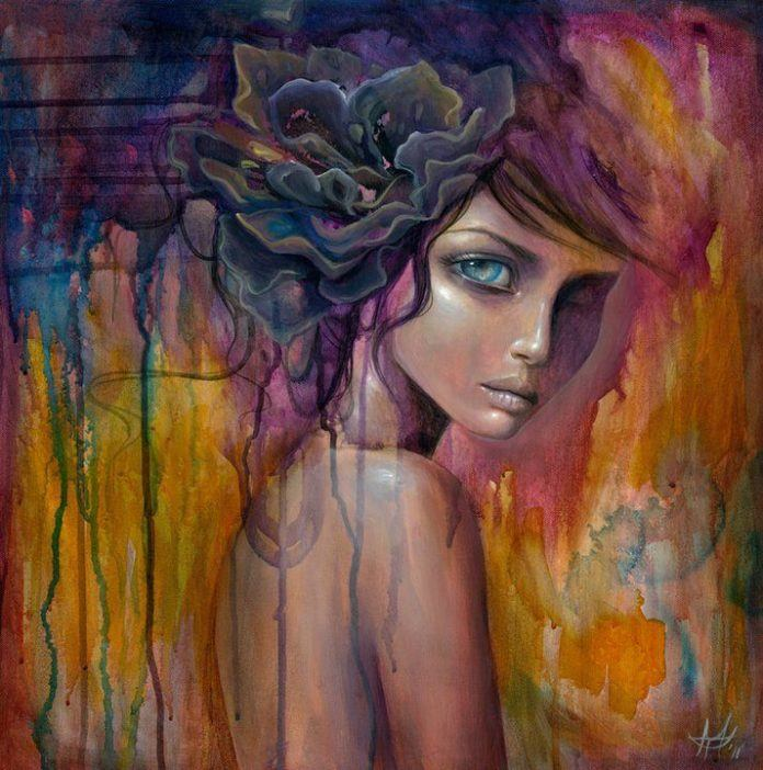 A surreal girl with a large flower in her hair has secrets in her eyes in this painting by Mandy Tsung