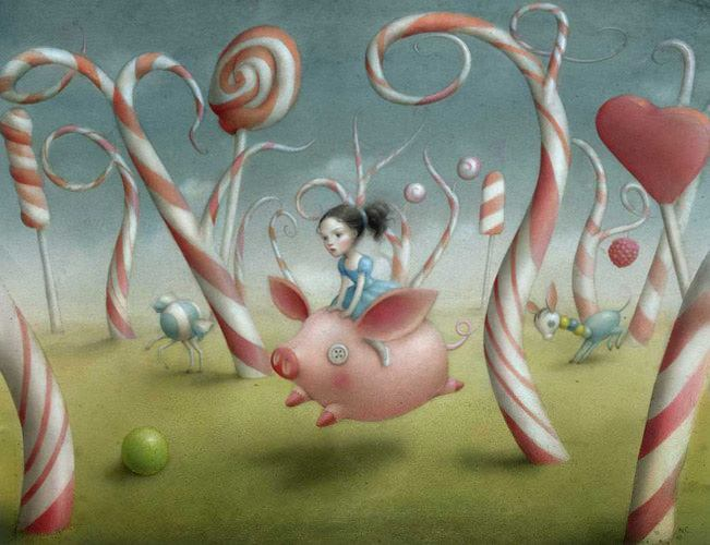 girl riding flying pig through candy cane forest surrealist fantasy childrens book illustration fairy tale art