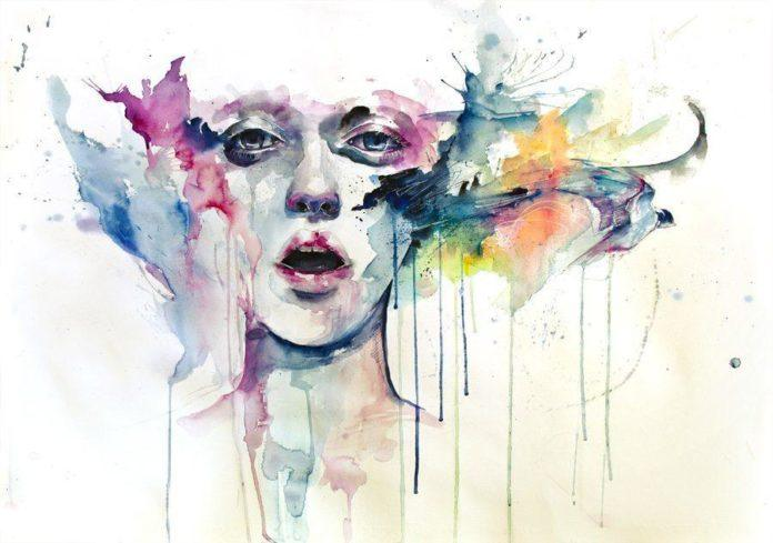 girl sing song bird watercolor painting art portrait face design drips dribble splash splatter paint