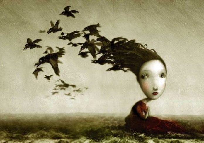 girl with birds hair surrealist painting fantasy children's book illustration art design