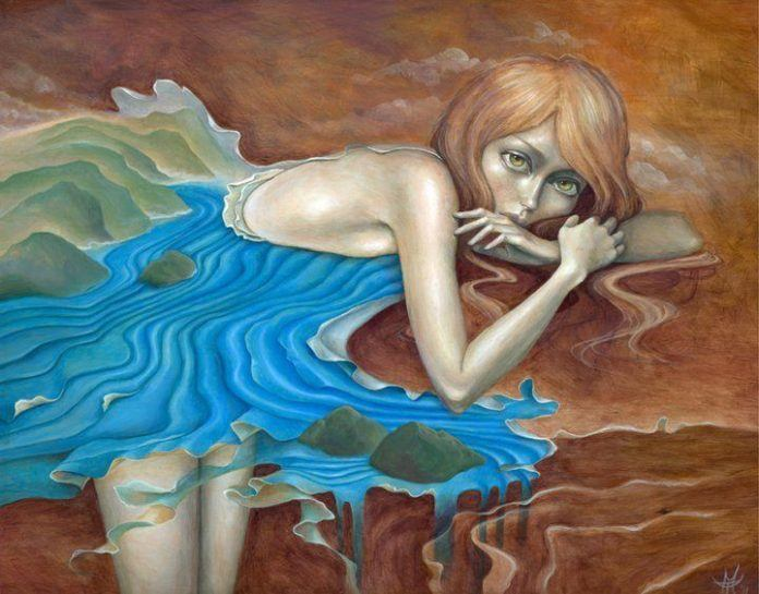 A girl with a river for a skirt is the subject of this wood painting by Mandy Tsung