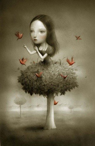 girl with tree dress playing with birds plant human hybrid childrens book illustration fantasy art fairy tale