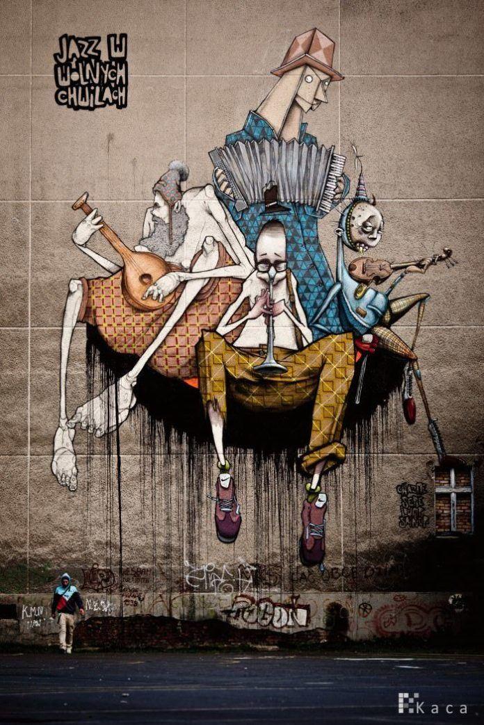 graffiti jazz band cool street art painting style unusual band music musicians