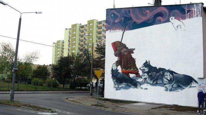 graffiti poland street art wall painting etam cru bezt stainer vandalism eskimo huskies dogs