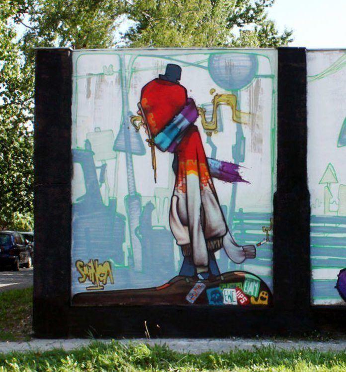graffiti street art musician music artist modern youth guitar case cigarette